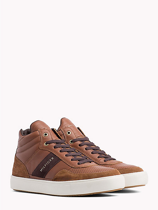 TOMMY HILFIGER Leather Mix High-Top Trainers - COGNAC - TOMMY HILFIGER Shoes - main image
