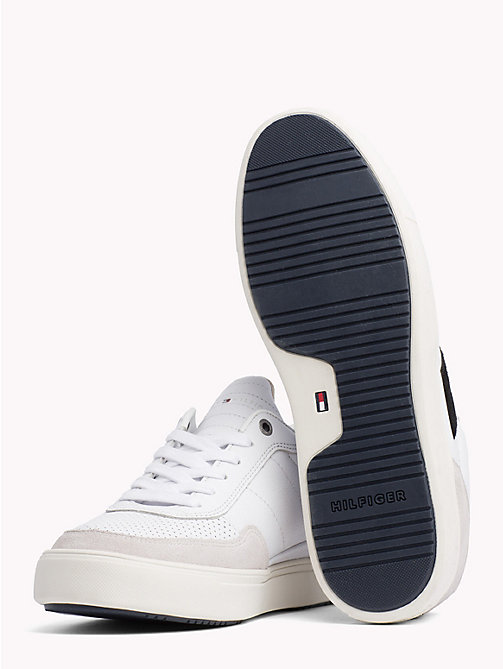TOMMY HILFIGER Leather Mix Low-Cut Trainers - WHITE - TOMMY HILFIGER Shoes - detail image 1