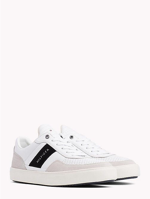 TOMMY HILFIGER Leather Mix Low-Cut Trainers - WHITE - TOMMY HILFIGER Shoes - main image