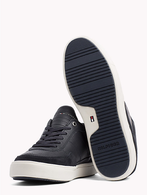TOMMY HILFIGER Leather Mix Low-Cut Trainers - MIDNIGHT - TOMMY HILFIGER Trainers - detail image 1