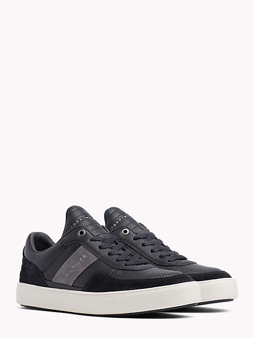 TOMMY HILFIGER Leather Mix Low-Cut Trainers - MIDNIGHT - TOMMY HILFIGER Trainers - main image
