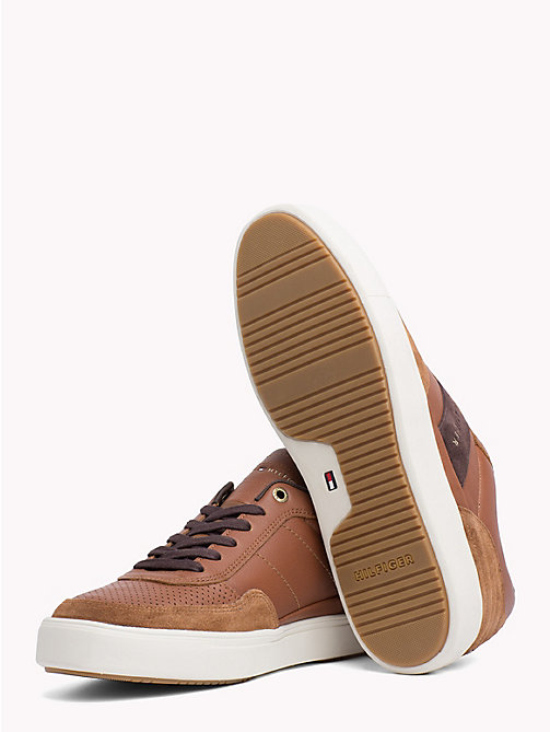 TOMMY HILFIGER Leather Mix Low-Cut Trainers - COGNAC - TOMMY HILFIGER Trainers - detail image 1