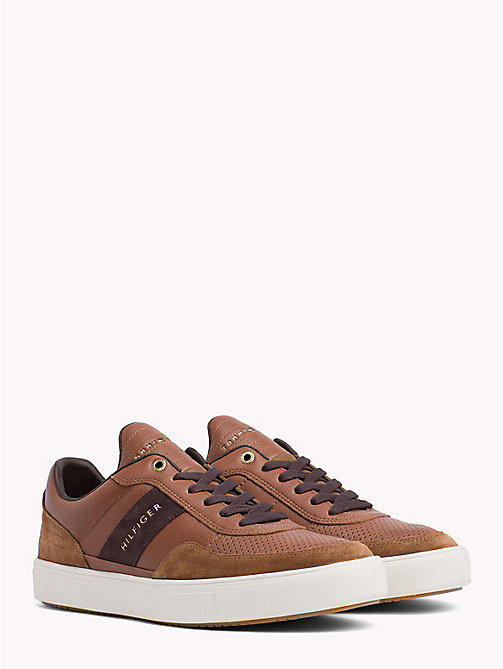 TOMMY HILFIGER Leather Mix Low-Cut Trainers - COGNAC - TOMMY HILFIGER Trainers - main image