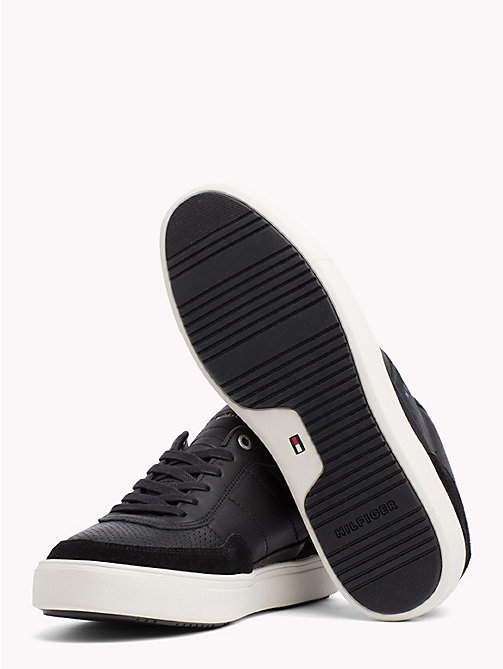TOMMY HILFIGER Leather Mix Low-Cut Trainers - BLACK - TOMMY HILFIGER Trainers - detail image 1