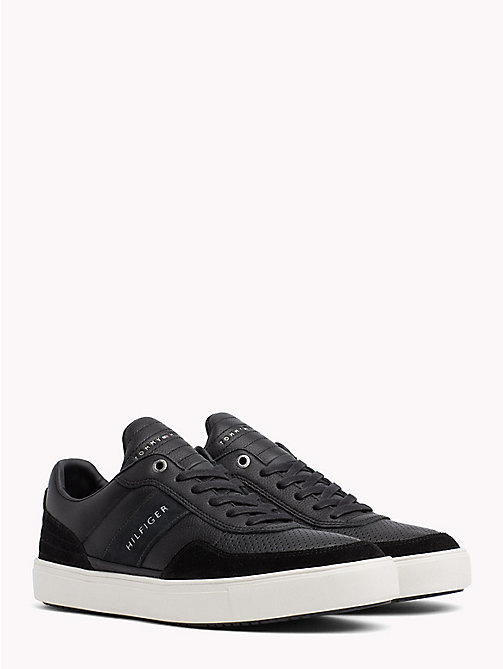 TOMMY HILFIGER Leather Mix Low-Cut Trainers - BLACK - TOMMY HILFIGER Trainers - main image