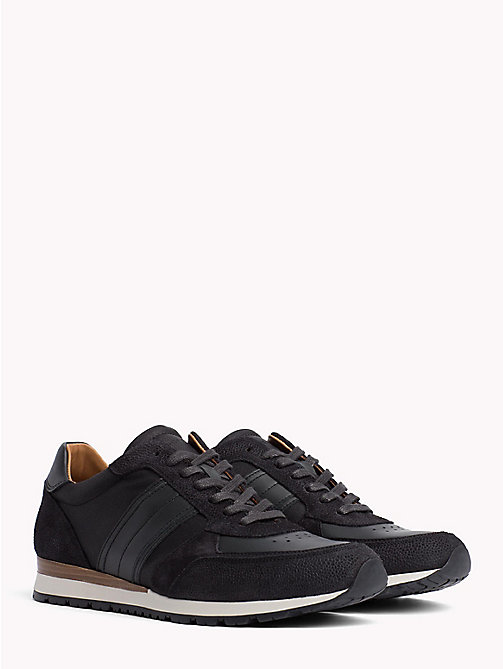 TOMMY HILFIGER Luxury Suede Trainers - BLACK-MAGNET - TOMMY HILFIGER Trainers - main image