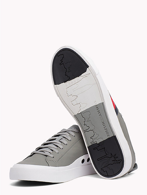 TOMMY HILFIGER Flag Detail Leather Low Tops - LIGHT GREY - TOMMY HILFIGER Trainers - detail image 1