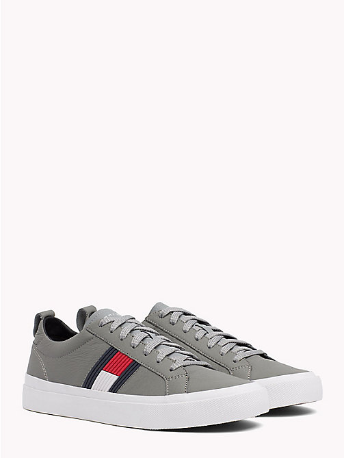 TOMMY HILFIGER Flag Detail Leather Low Tops - LIGHT GREY - TOMMY HILFIGER Trainers - main image
