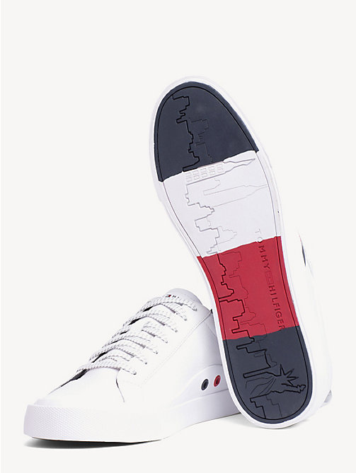 TOMMY HILFIGER Flag Detail Leather Low Tops - WHITE - TOMMY HILFIGER Best Sellers - detail image 1