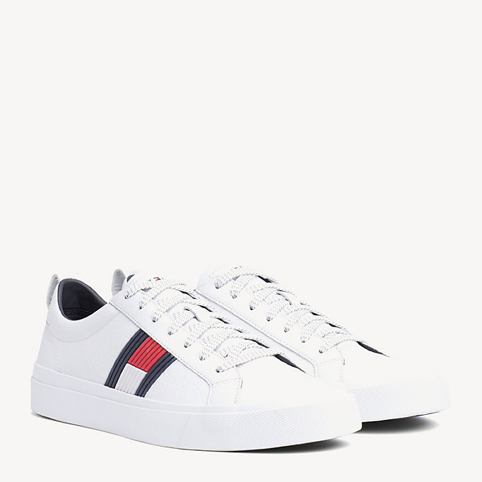 33135b4ad032 Flag Detail Leather Low Tops. TOMMY HILFIGER