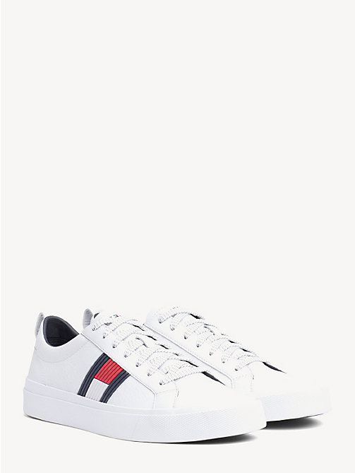 TOMMY HILFIGER Flag Detail Leather Low Tops - WHITE - TOMMY HILFIGER NEW IN - main image