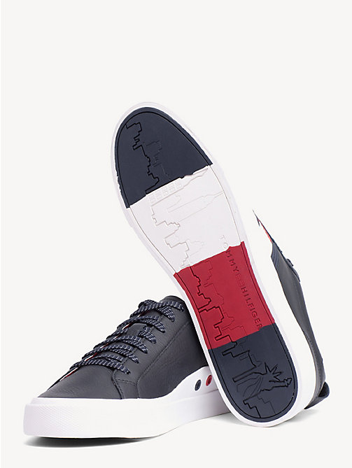 TOMMY HILFIGER Flag Detail Leather Low Tops - MIDNIGHT - TOMMY HILFIGER Trainers - detail image 1