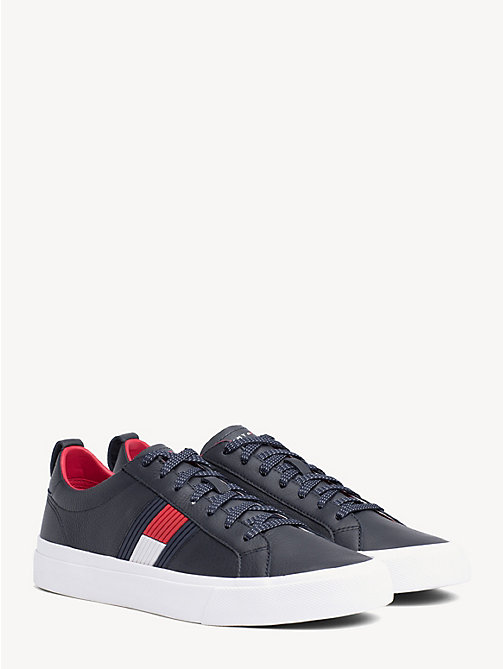 TOMMY HILFIGER Flag Detail Leather Low Tops - MIDNIGHT - TOMMY HILFIGER Trainers - main image