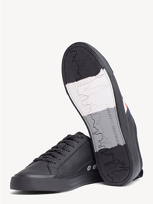 TOMMY HILFIGER Flag Detail Leather Low Tops - BLACK - TOMMY HILFIGER NEW IN - detail image 1