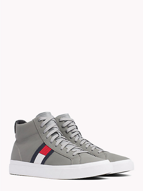 TOMMY HILFIGER Hoge leren sneaker met skyline - LIGHT GREY - TOMMY HILFIGER Sneakers - main image