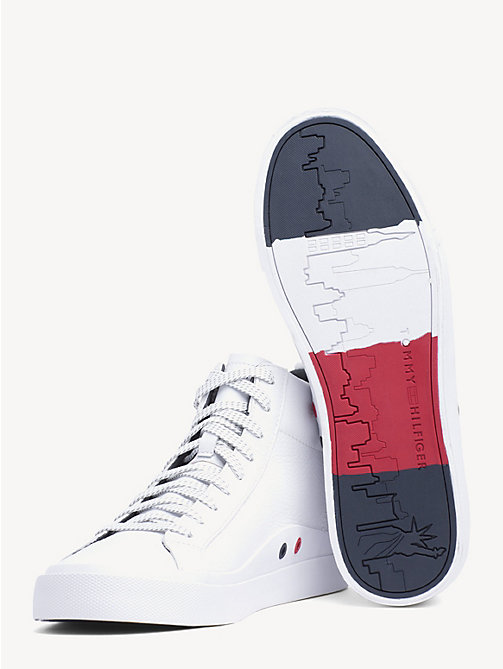 TOMMY HILFIGER Flag Detail Leather High Tops - WHITE - TOMMY HILFIGER Shoes - detail image 1