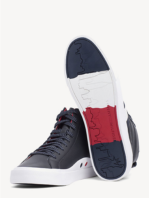 TOMMY HILFIGER Flag Detail Leather High Tops - MIDNIGHT - TOMMY HILFIGER Shoes - detail image 1