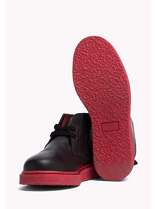 TOMMY HILFIGER Contrast Sole Desert Boot - BLACK/BARBADOS CHERRY - TOMMY HILFIGER Hilfiger Collection - detail image 1
