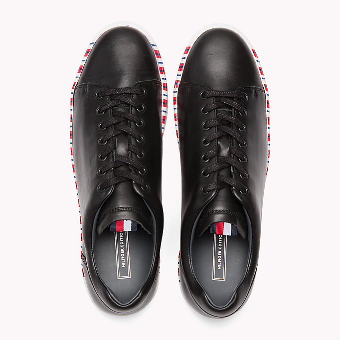 TOMMY HILFIGER Leather Contrast Sole Sneaker - WHITE - TOMMY HILFIGER Men - detail image 3