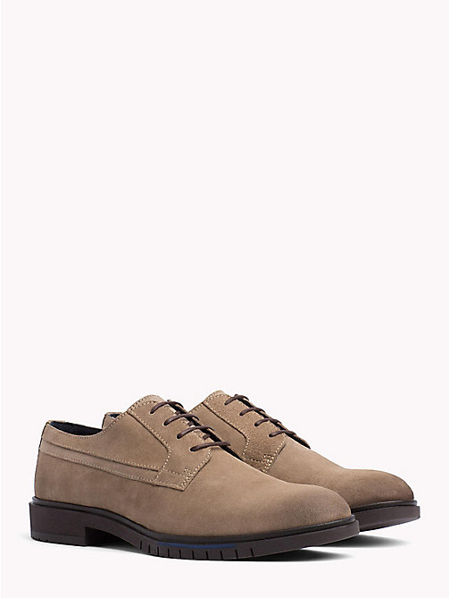 TOMMY HILFIGER Flexible Sole Suede Oxford Shoes - TAUPE GREY - TOMMY HILFIGER Shoes - main image