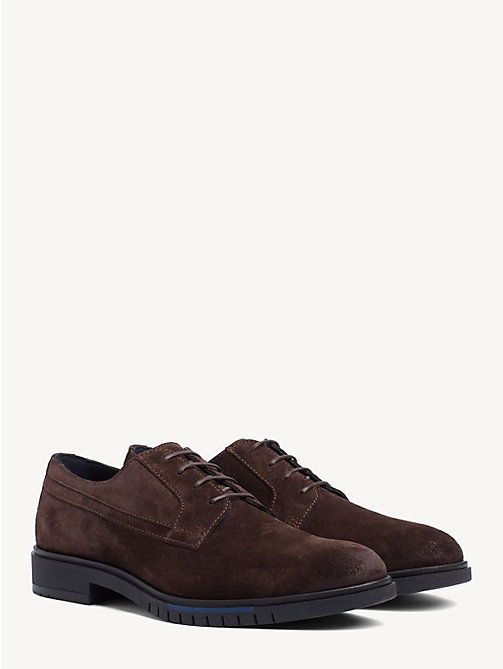 TOMMY HILFIGER Flexible Sole Suede Oxford Shoes - COFFEE BEAN - TOMMY HILFIGER Lace-up Shoes - main image