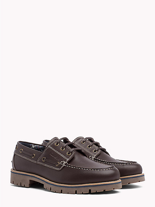 TOMMY HILFIGER Leather Lace-Up Boat Shoes - COFFEEBEAN - TOMMY HILFIGER Loafers & Boat Shoes - main image