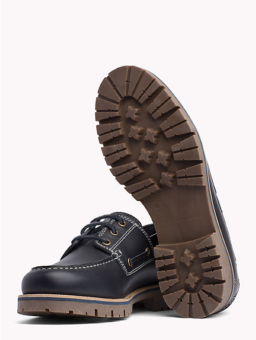 TOMMY HILFIGER Leather Lace-Up Boat Shoes - MIDNIGHT - TOMMY HILFIGER Loafers & Boat Shoes - detail image 1