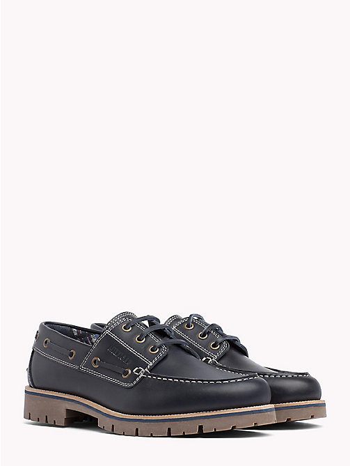 TOMMY HILFIGER Leather Lace-Up Boat Shoes - MIDNIGHT - TOMMY HILFIGER Loafers & Boat Shoes - main image