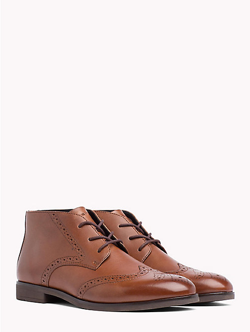TOMMY HILFIGER Dressy Casual Leather Ankle Boots - WINTER COGNAC - TOMMY HILFIGER Lace-Up Boots - main image
