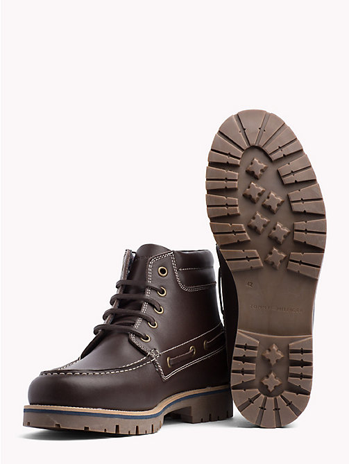 TOMMY HILFIGER Deck Style Leather Boots - COFFEE BEAN - TOMMY HILFIGER Lace-Up Boots - detail image 1