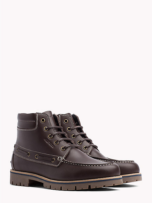 TOMMY HILFIGER Deck Style Leather Boots - COFFEE BEAN - TOMMY HILFIGER Lace-Up Boots - main image