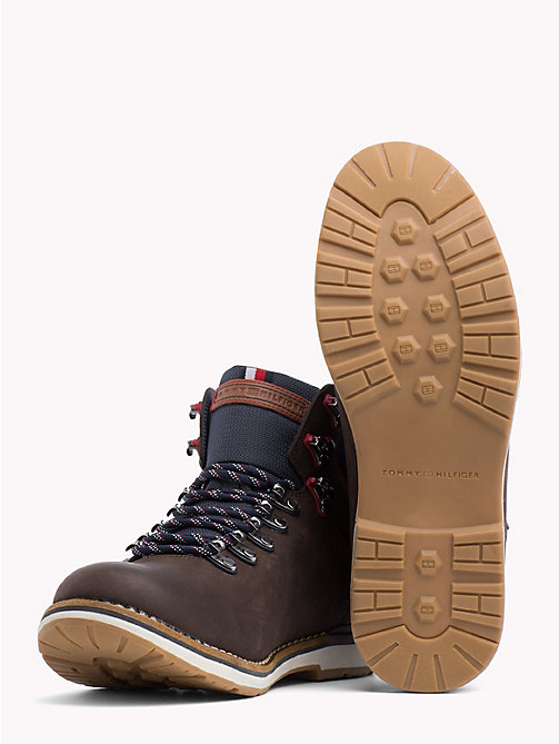 TOMMY HILFIGER Leather Hiking Boots - COFFEE - TOMMY HILFIGER Lace-Up Boots - detail image 1