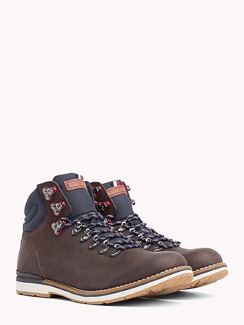TOMMY HILFIGER Leather Hiking Boots - COFFEE - TOMMY HILFIGER Lace-Up Boots - main image