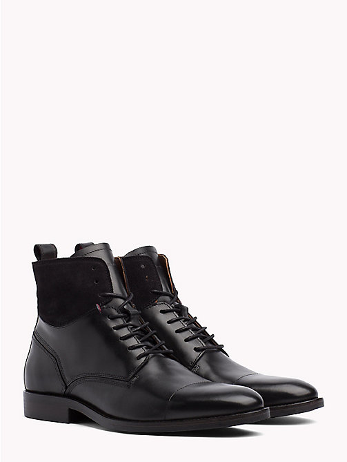 TOMMY HILFIGER Contrast Texture Ankle Boots - BLACK - TOMMY HILFIGER Lace-Up Boots - main image