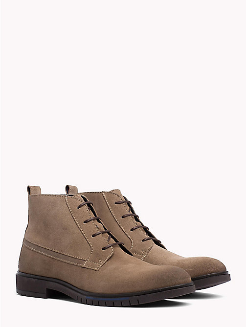 TOMMY HILFIGER Flexible Sole Suede Chukka Boots - TAUPE GREY - TOMMY HILFIGER Lace-Up Boots - main image