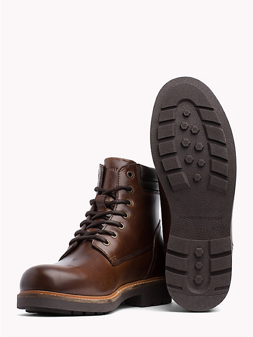 TOMMY HILFIGER Waterproof Lace-Up Ankle Boots - COFFEE - TOMMY HILFIGER Shoes - detail image 1