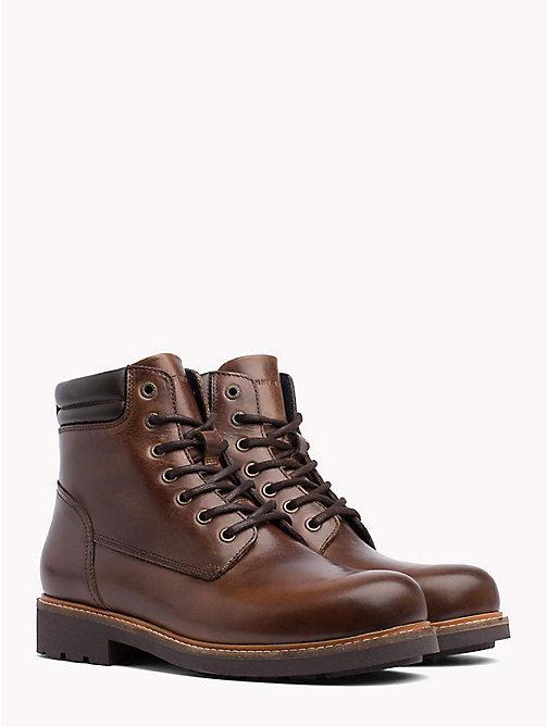 TOMMY HILFIGER Waterproof Lace-Up Ankle Boots - COFFEE - TOMMY HILFIGER Boots - main image