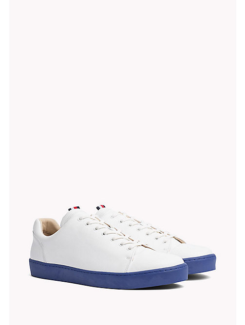 TOMMY HILFIGER Sneakers in pelle con suola a contrasto - WHITE - TOMMY HILFIGER HILFIGER COLLECTION - immagine principale