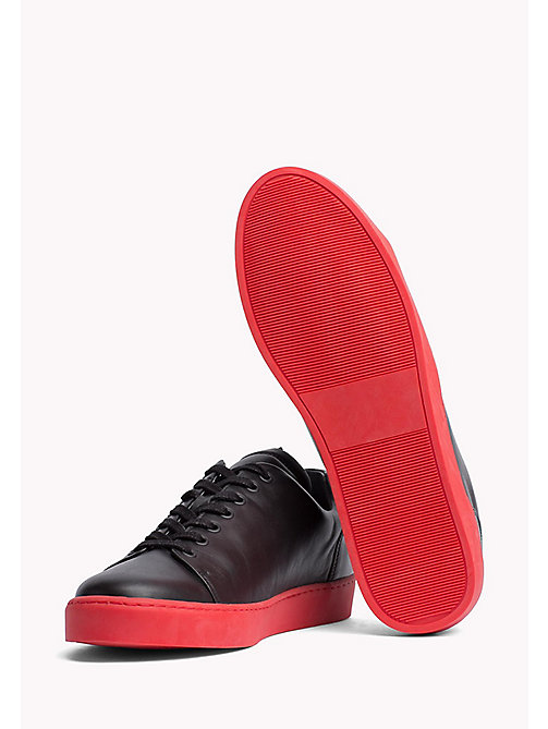 TOMMY HILFIGER Contrast Sole Leather Sneaker - BLACK -  Coats & Jackets - detail image 1