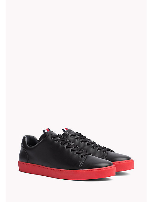 TOMMY HILFIGER Contrast Sole Leather Sneaker - BLACK -  Coats & Jackets - main image