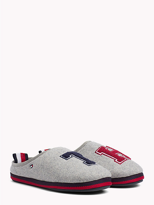 TOMMY HILFIGER Towelling Initial Slippers - LIGHT GREY - TOMMY HILFIGER Shoes - main image