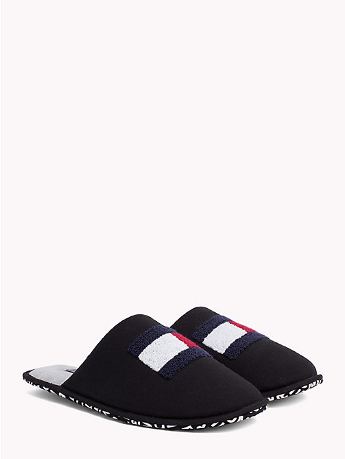 TOMMY HILFIGER Towelling Flag Slippers - BLACK -  Slippers - main image