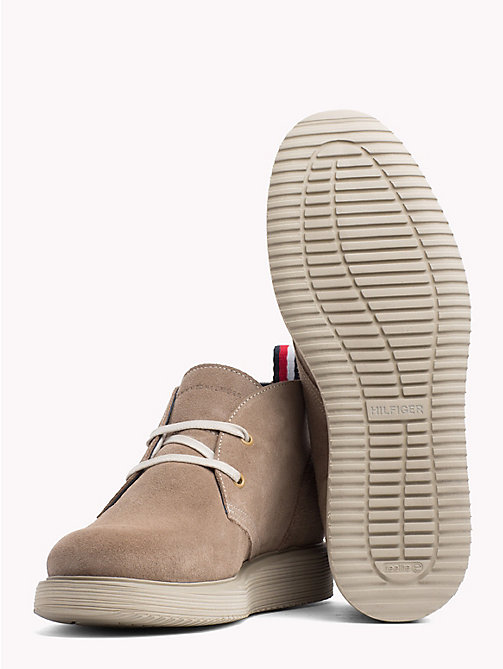 TOMMY HILFIGER Suede Wedge Chukka Boots - TAUPE GREY - TOMMY HILFIGER Lace-Up Boots - detail image 1