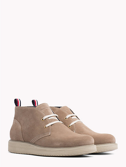 TOMMY HILFIGER SUEDE WEDGE CHUKKA BOOT - TAUPE GREY - TOMMY HILFIGER Lace-Up Boots - main image