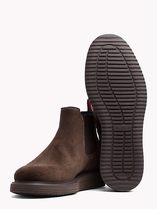 TOMMY HILFIGER Suede Wedge Chelsea Boots - COFFEE BEAN - TOMMY HILFIGER Shoes - detail image 1