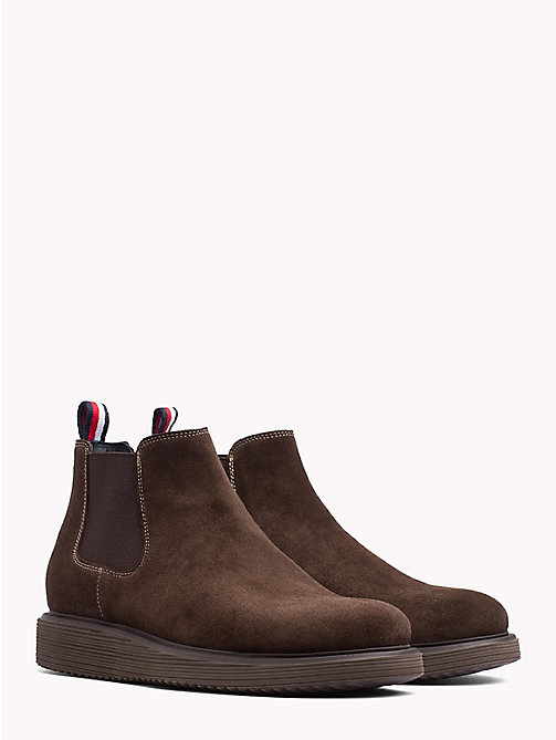TOMMY HILFIGER Suede Wedge Chelsea Boots - COFFEE BEAN - TOMMY HILFIGER Shoes - main image