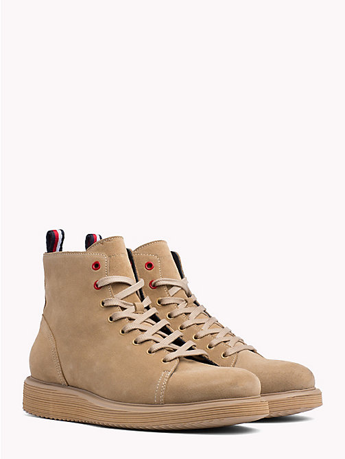 TOMMY HILFIGER Suede Wedge Lace-Up Boots - CASHMERE -  Lace-Up Boots - main image