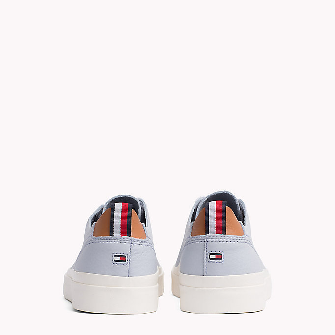 TOMMY HILFIGER Flag Embossed Leather Trainers - SILVER PEONY - TOMMY HILFIGER Men - detail image 2