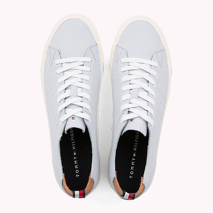 TOMMY HILFIGER Flag Embossed Leather Trainers - SILVER PEONY - TOMMY HILFIGER Men - detail image 3