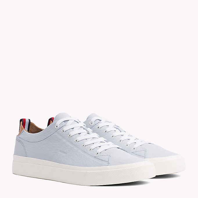 TOMMY HILFIGER Flag Embossed Leather Trainers - SILVER PEONY - TOMMY HILFIGER Men - main image